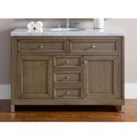 James Martin Furniture Chicago 48-Inch Single Vanity with Marble Top in Walnut/White
