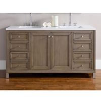 James Martin Furniture Chicago 60-Inch Double Vanity with 3 cm Quartz Top in Walnut/Snow White