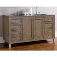 James Martin Furniture Chicago 60-Inch Double Vanity with 3 cm Quartz Top in Walnut/Grey