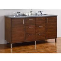 James Martin Furniture Metropolitan 60-Inch Double Vanity in Walnut with 3 cm Quartz Top in Grey