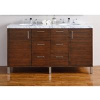 James Martin Furniture Metropolitan 60-Inch Double Vanity in Walnut with 4 cm Carrara White Top