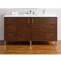 James Martin Furniture 60-Inch Metropolitan Single Vanity in Walnut with 3 cm Quartz Top in White