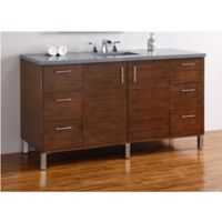 James Martin Furniture 60-Inch Metropolitan Single Vanity in Walnut with 3 cm Quartz Top in Grey