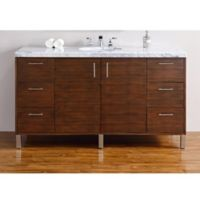 James Martin Furniture 60-Inch Metropolitan Single Vanity in Walnut with 4 cm Carrara White Top
