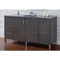 James Martin Furniture Metropolitan 60-Inch Single Vanity in Oak with 3 cm Quartz Top in Grey