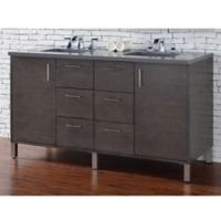 James Martin Furniture Metropolitan 60-Inch Double Vanity in Oak with 3 cm Quartz Top in Grey