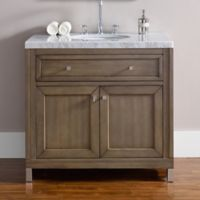 James Martin Furniture Chicago 36-Inch Single Vanity with Marble Top in Walnut/White