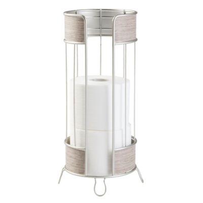 InterDesign® RealWood 3 Roll Freestanding Toilet Paper Holder In Grey