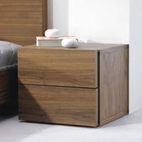 Tema Furniture Inc. Float Wooden 2-Drawer Nightstand in Walnut