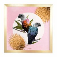 DENY Designs 30-Inch x 30-Inch Jolly Parrots Framed Wall Art
