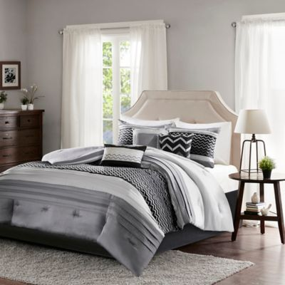 madison park bryan 7piece california king comforter set in black - California King Bed Sheets