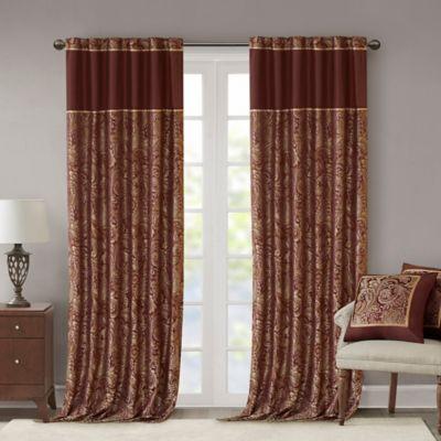 Madison Park Aubrey 108 Inch Window Curtain Panel Pair In Burgundy