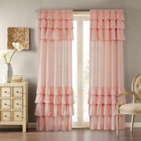 Madison Park Anna 84-Inch Rod Pocket Window Curtain Panel in Pink