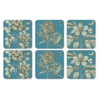 Pimpernel Etchings and Roses Coaster in Blue (Set of 6)