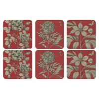 Pimpernel Etchings and Roses Coaster in Red (Set of 6)