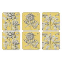 Pimpernel Etchings and Roses Coaster in Yellow (Set of 6)