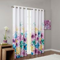 Intelligent Design Olivia Printed Blackout 84-Inch Window Curtain Panel in Blue