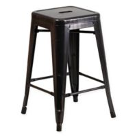 Flash Furniture 24-Inch Backless Metal Stool with Square Seat in Black/Antique Gold