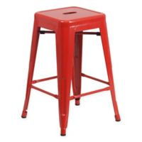 Flash Furniture 24-Inch Backless Metal Stool with Square Seat in Red