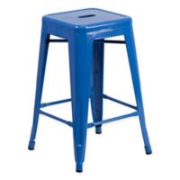 Flash Furniture 24-Inch Backless Metal Stool with Square Seat in Blue