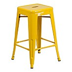 Flash Furniture 24-Inch Backless Metal Stool with Square Seat in Yellow