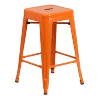 Flash Furniture 24-Inch Backless Metal Stool with Square Seat in Orange