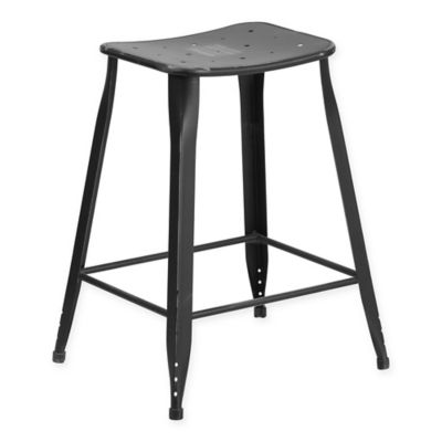 flash furniture backless distressed metal counter stool in black - Metal Counter Stools