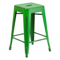 Flash Furniture 24-Inch Backless Distressed Counter Stool in Green