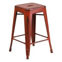 Flash Furniture 24-Inch Backless Distressed Counter Stool in Red