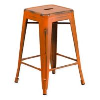 Flash Furniture 24-Inch Backless Distressed Counter Stool in Orange