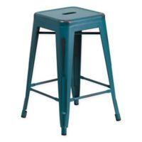 Flash Furniture 24-Inch Backless Distressed Counter Stool in Kelly Blue