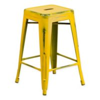 Flash Furniture 24-Inch Backless Distressed Counter Stool in Yellow