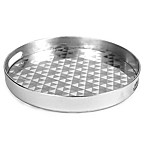 Decorative 13-Inch Round Serving Tray in Silver