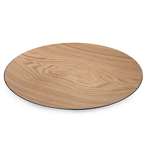 Decorative round serving tray in natural bed bath beyond for Decorative bathroom tray
