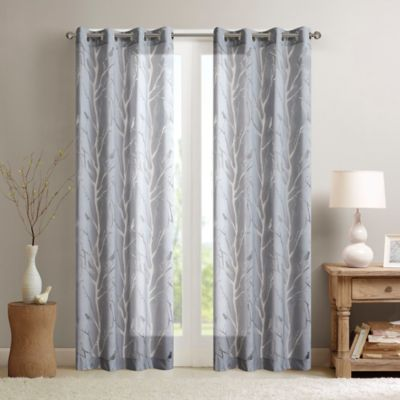 Madison Park Averil Sheer Bird 63 Inch Window Curtain Panel Pair In Grey