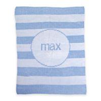 Butterscotch Blankees Modern Stripe Knit Stroller Blanket in White/Light Blue