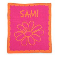 Butterscotch Blankees Flower and Scalloped Edge Knit Stroller Blanket in Fuchsia/Orange
