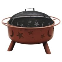 29-Inch Big Sky Stars & Moons Fire Pit with Shallow Bowl in Clay