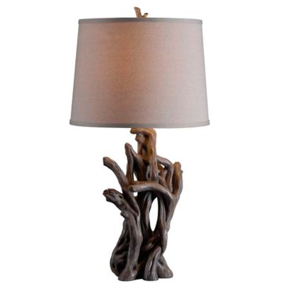 Lovely Kenroy Home Cast Away Table Lamp In Driftwood With Cream Cotton Shade