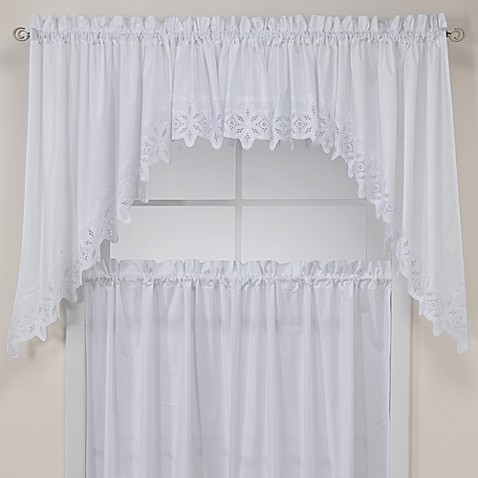kaitlyn kitchen window curtain valance in white bed bath 20240 | 10426715873426p 478