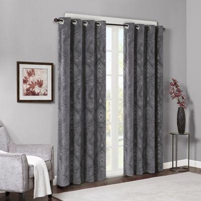 madison park milan embossed damask velvet 84inch window curtain panel pair in grey