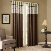 Madison Park Serene Embroidered 84-Inch Window Curtain Panel in Green