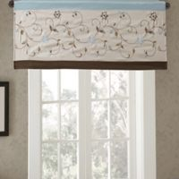 Madison Park Serene Embroidered Window Valance in Blue