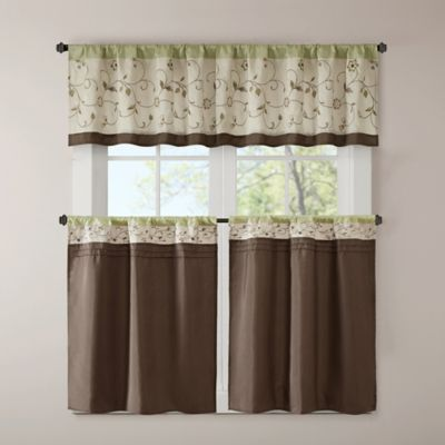 Madison Park Serene Embroidered 24 Inch Kitchen Tier In Green