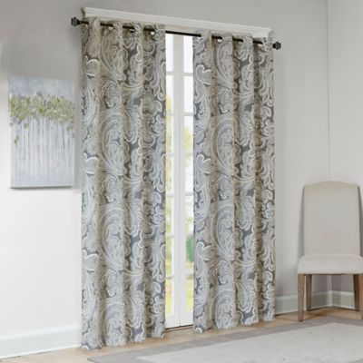 Madison Park Ronan Cotton Paisley 84 Inch Window Curtain Panel In Grey