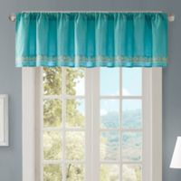 Madison Park Nisha Cotton Embroidered Valance in Teal