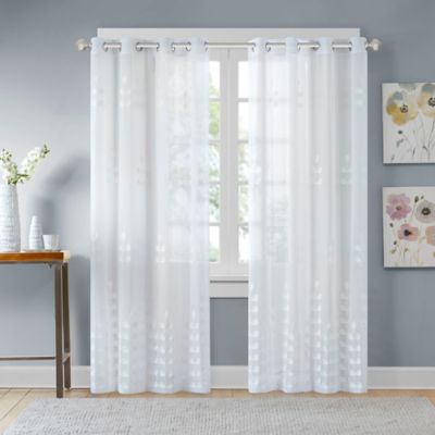 madison park jolie embroidered sheer 63inch window curtain panel in white - Sheer Curtain Panels