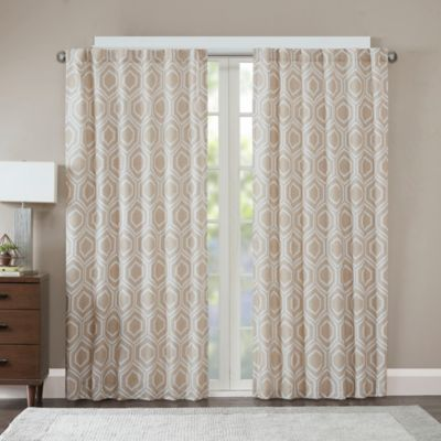 Madison Park Kendall Metallic Jacquard 95 Inch Window Curtain Panel In Gold