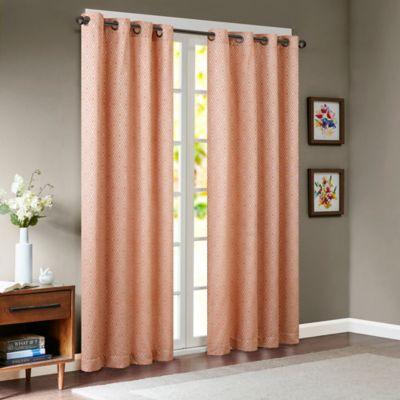 Superior Madison Park Paige Diamond Jacquard 95 Inch Window Curtain Panel In Orange