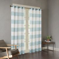Urban Habitat Mason Yarn Dyed Woven Sheer 84-Inch Window Curtain Panel in Blue